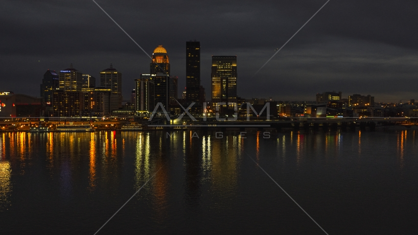The city skyline at twilight across the river, Downtown Louisville, Kentucky Aerial Stock Photos | DXP001_096_0017