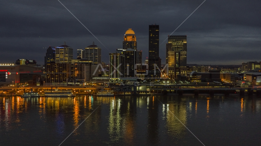 The Ohio River with a view of the city skyline at twilight, Downtown Louisville, Kentucky Aerial Stock Photos | DXP001_096_0019