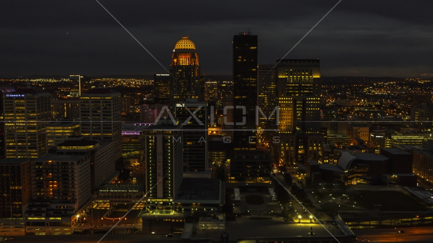 A view of skyscrapers in the city skyline at twilight, Downtown Louisville, Kentucky Aerial Stock Photo DXP001_096_0020 | Axiom Images