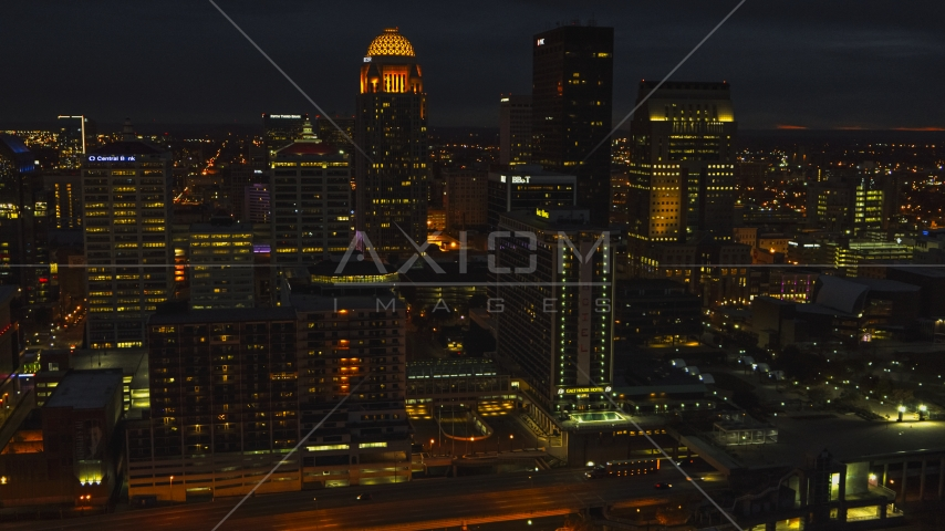 The city's skyline at twilight in Downtown Louisville, Kentucky Aerial Stock Photos | DXP001_096_0021