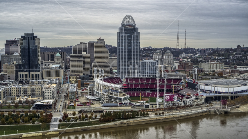 Aerial stock photo of the baseball stadium and skyscraper seen from the river, Downtown Cincinnati, Ohio Aerial Stock Photos | DXP001_097_0002