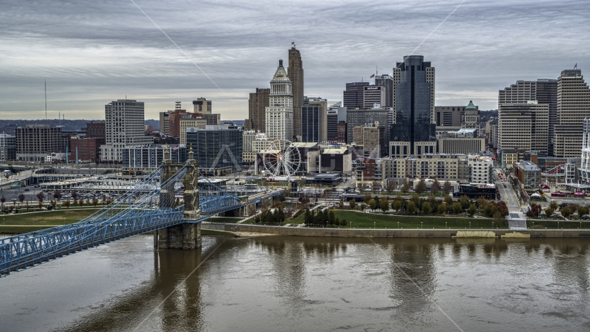 The bridge and river with view of city skyline, Downtown Cincinnati, Ohio Aerial Stock Photos | DXP001_097_0003