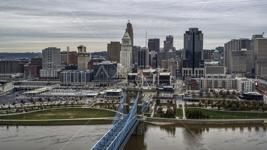 The city skyline, and bridge over the Ohio River, Downtown Cincinnati, Ohio Aerial Stock Photos | DXP001_097_0004