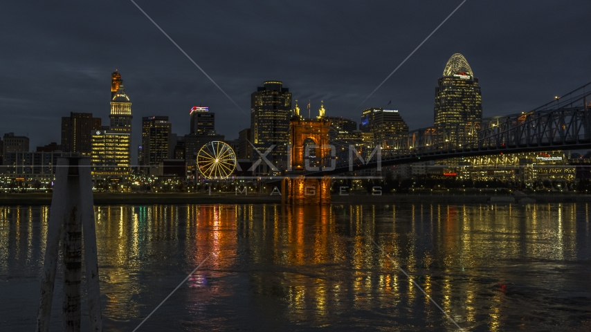 The city's downtown skyline across the Ohio River at twilight, Downtown Cincinnati, Ohio Aerial Stock Photos | DXP001_098_0016