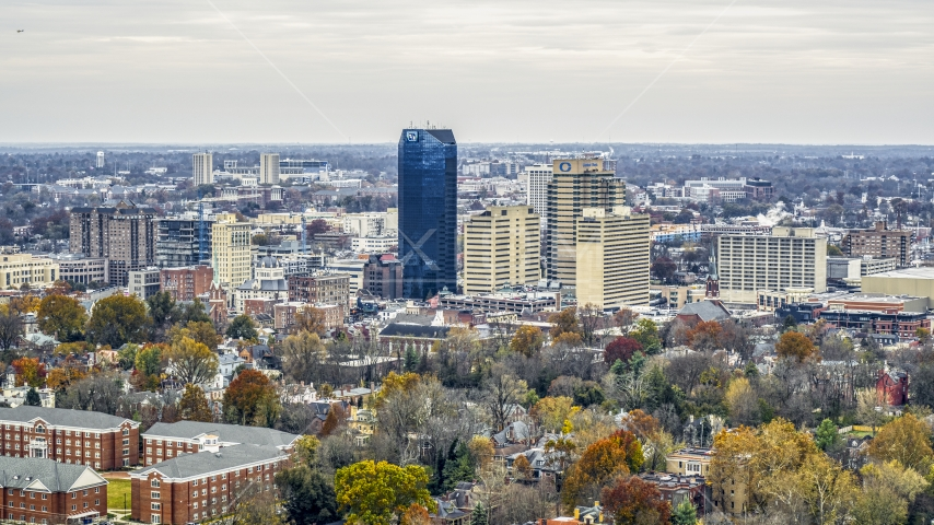 A view of the city's skyline, seen from tree-lined neighborhoods, Downtown Lexington, Kentucky Aerial Stock Photos | DXP001_099_0003
