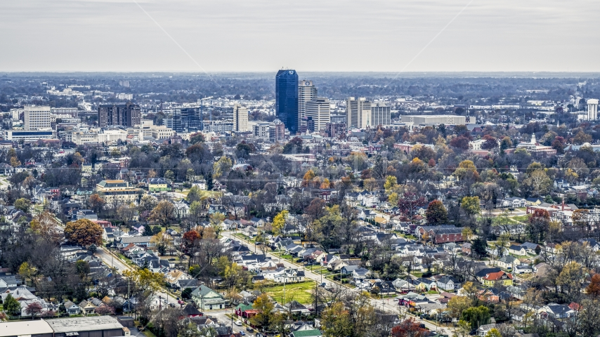 City skyline seen from neighborhoods, Downtown Lexington, Kentucky Aerial Stock Photo DXP001_099_0011 | Axiom Images