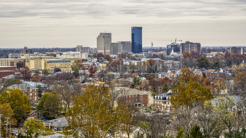 A wide view of the city's skyline in Downtown Lexington, Kentucky Aerial Stock Photos | DXP001_100_0004