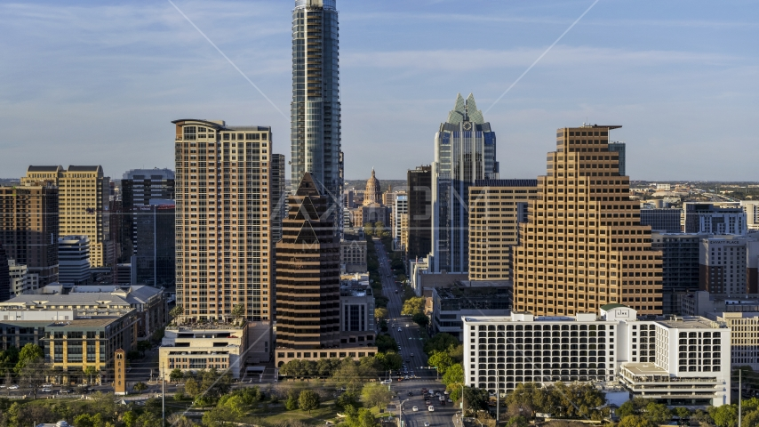 Downtown skyscrapers and the state capitol in Downtown Austin, Texas Aerial Stock Photos | DXP002_000_0001