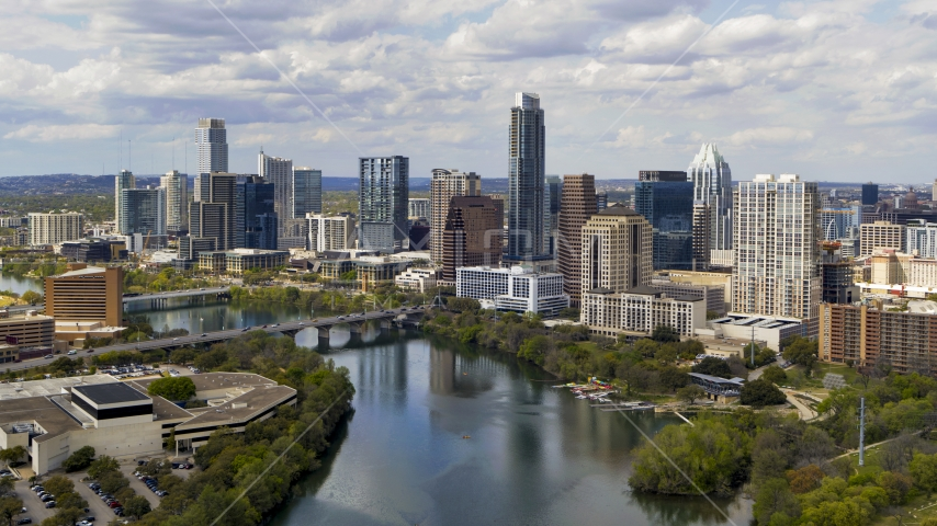 The city skyline by Lady Bird Lake, Downtown Austin, Texas Aerial Stock Photo DXP002_102_0022 | Axiom Images