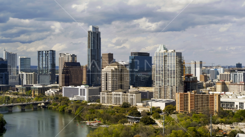 A view of skyscrapers and high-rise buildings in Downtown Austin, Texas Aerial Stock Photo DXP002_103_0003 | Axiom Images