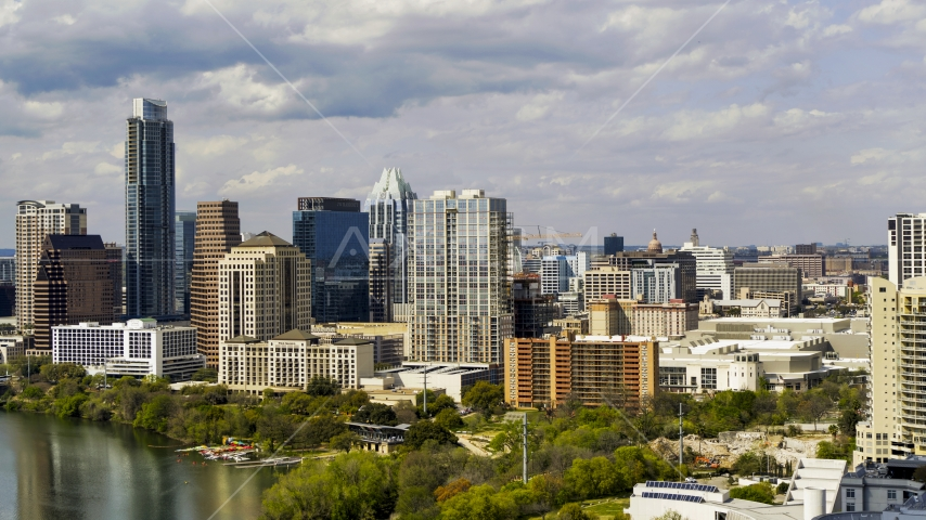 A view of giant city skyscrapers and high-rises in Downtown Austin, Texas Aerial Stock Photos | DXP002_103_0004
