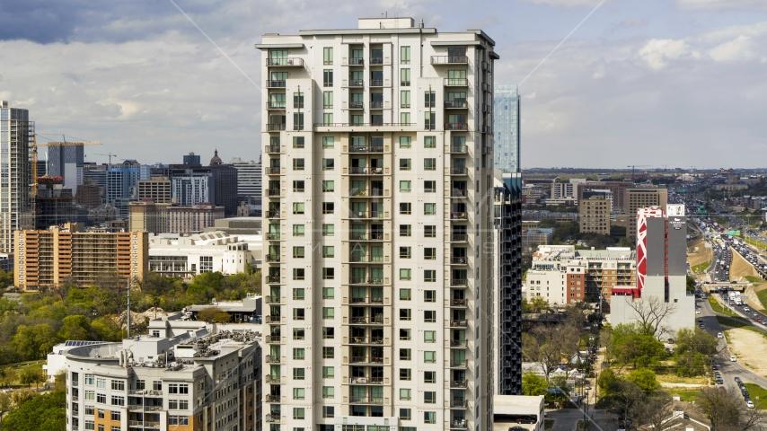 A high-rise apartment building in Downtown Austin, Texas Aerial Stock Photos | DXP002_103_0006