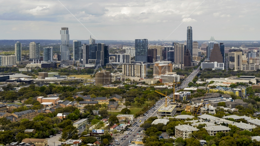 A view of the Downtown Austin, Texas skyline Aerial Stock Photo DXP002_103_0010 | Axiom Images