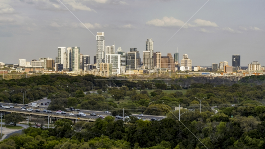 A wide view of city skyline, Downtown Austin, Texas Aerial Stock Photo DXP002_104_0006 | Axiom Images