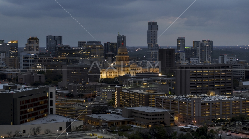 Office buildings, capitol and skyscrapers at twilight in Downtown Austin, Texas Aerial Stock Photos | DXP002_105_0021