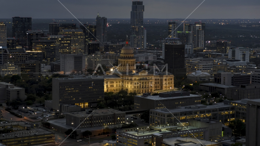 The Texas State Capitol at twilight in Downtown Austin, Texas Aerial Stock Photo DXP002_105_0022 | Axiom Images
