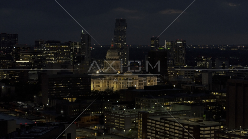 A view of the Texas State Capitol at night in Downtown Austin, Texas Aerial Stock Photos | DXP002_106_0002