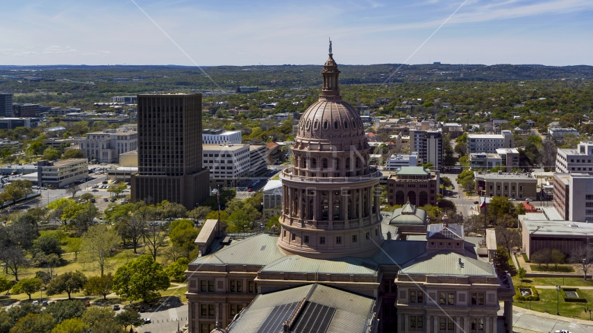 The dome of Texas State Capitol, Downtown Austin, Texas Aerial Stock Photos | DXP002_107_0004