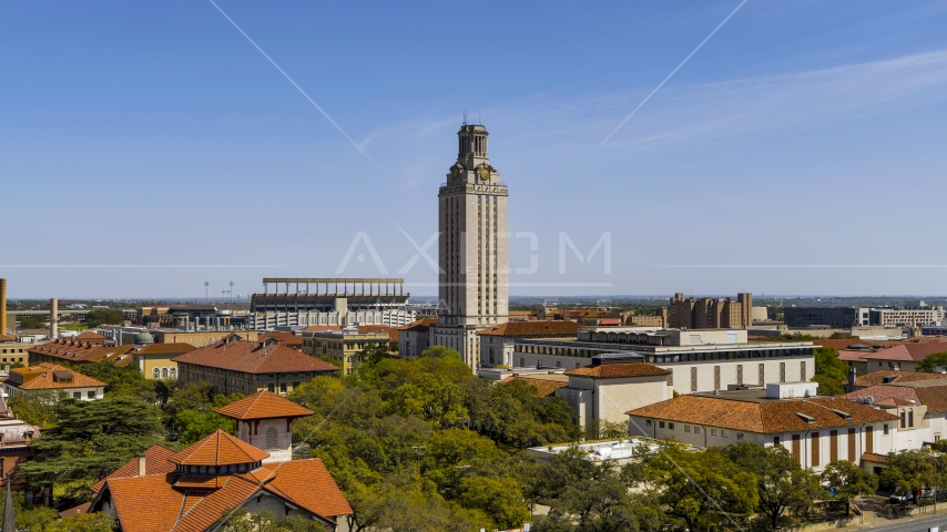 UT Tower at the University of Texas during ascent, Austin, Texas Aerial Stock Photo DXP002_107_0005 | Axiom Images