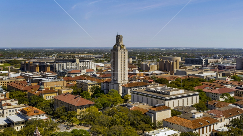The UT Tower at the University of Texas, Austin, Texas Aerial Stock Photo DXP002_107_0006 | Axiom Images