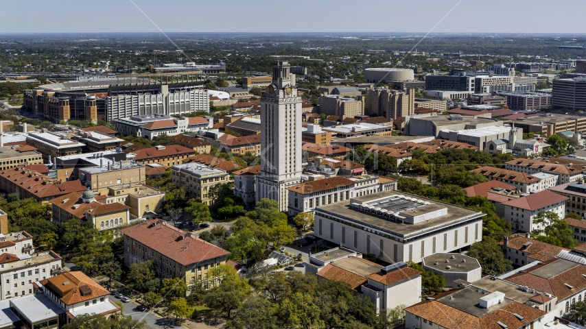 UT Tower at the center of the University of Texas, Austin, Texas Aerial Stock Photo DXP002_107_0007 | Axiom Images