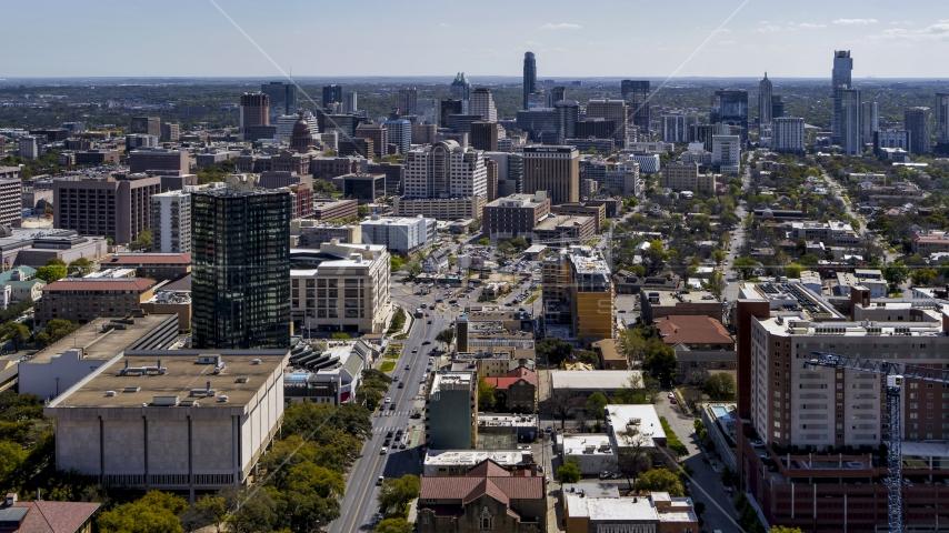 The city's skyline, seen from the University of Texas, Downtown Austin, Texas Aerial Stock Photos | DXP002_107_0008