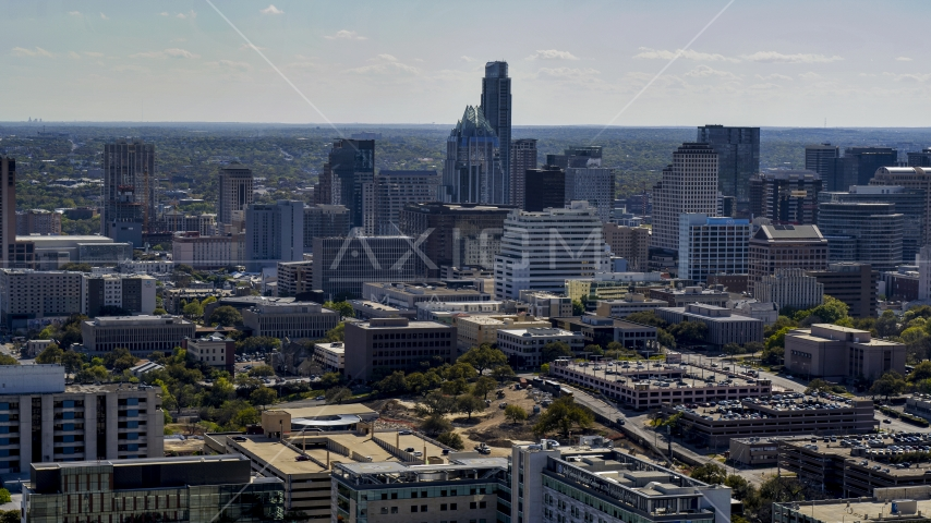A view of the city's skyline in Downtown Austin, Texas Aerial Stock Photos | DXP002_108_0004