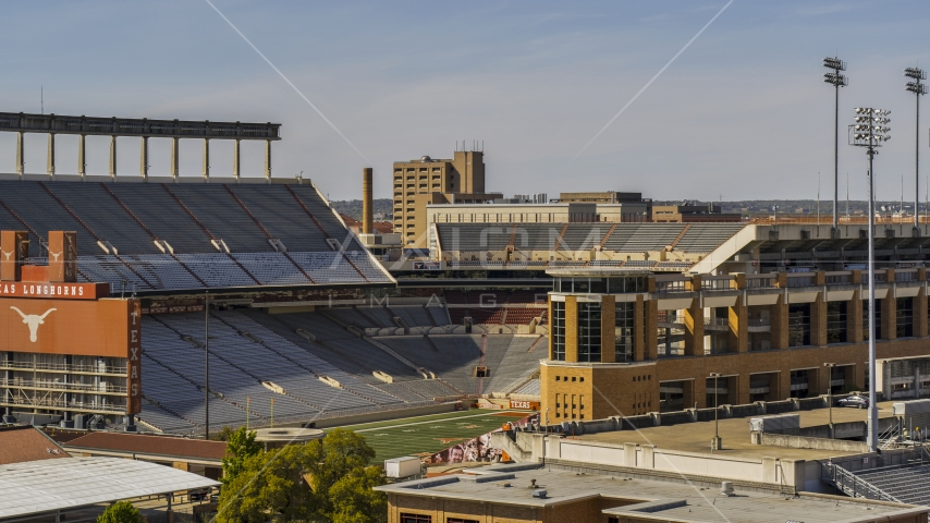 The empty football stadium at the University of Texas, Austin, Texas Aerial Stock Photo DXP002_108_0006 | Axiom Images