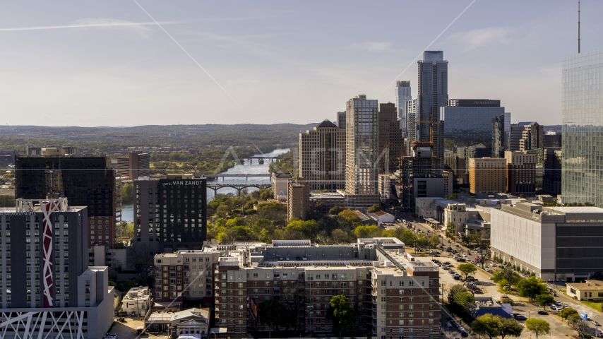 A view of the city's skyline and Lady Bird Lake in Downtown Austin, Texas Aerial Stock Photos | DXP002_108_0014