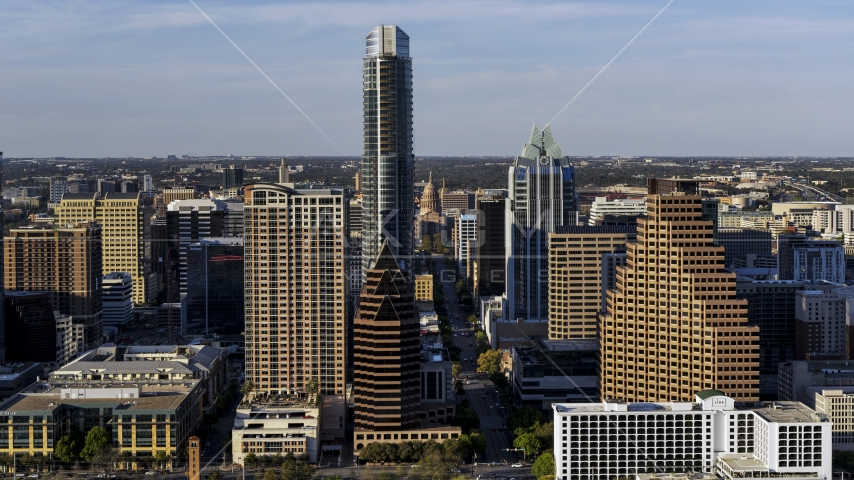 A view of the Texas State Capitol seen by The Austonian in Downtown Austin, Texas Aerial Stock Photos | DXP002_109_0016