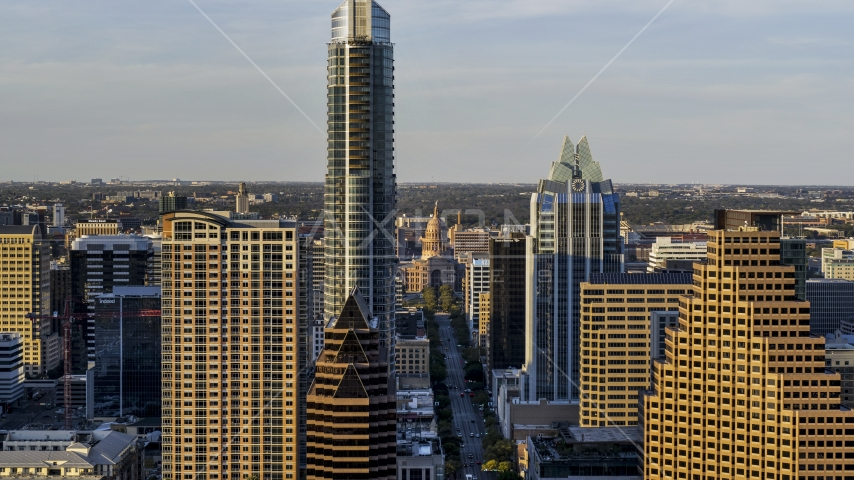 A view of skyscrapers and the Texas State Capitol in Downtown Austin, Texas Aerial Stock Photos | DXP002_109_0018