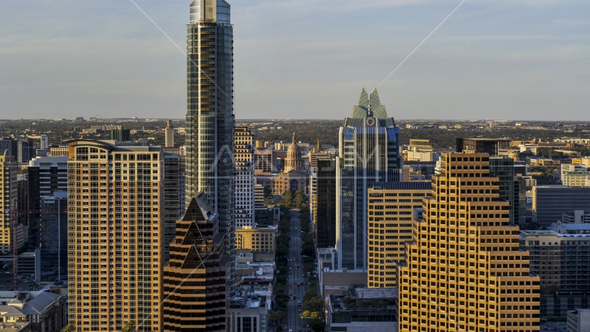 Downtown skyscrapers and the Texas State Capitol in Downtown Austin, Texas Aerial Stock Photos | DXP002_109_0019