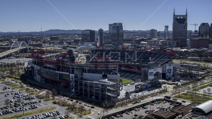 A view of the football stadium in Nashville, Tennessee Aerial Stock Photos | DXP002_112_0002