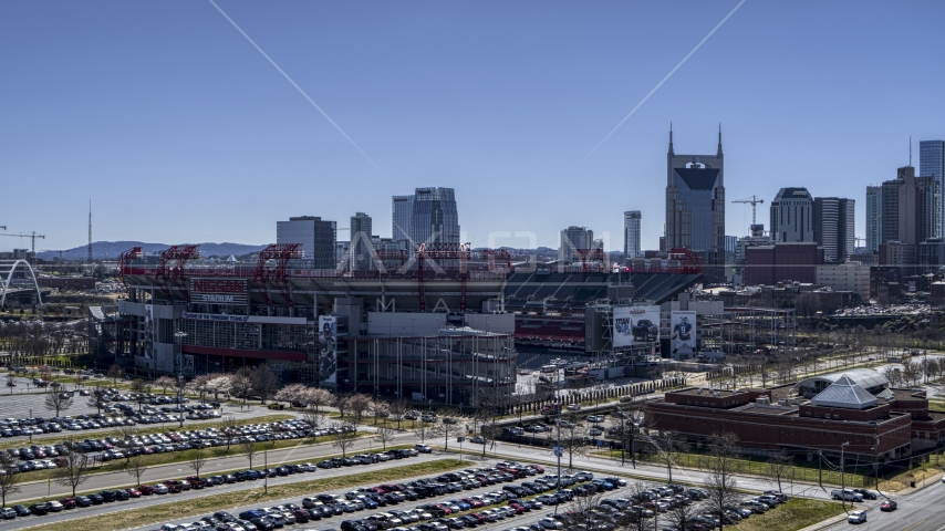 The side of the football stadium in Nashville, Tennessee Aerial Stock Photos | DXP002_112_0003