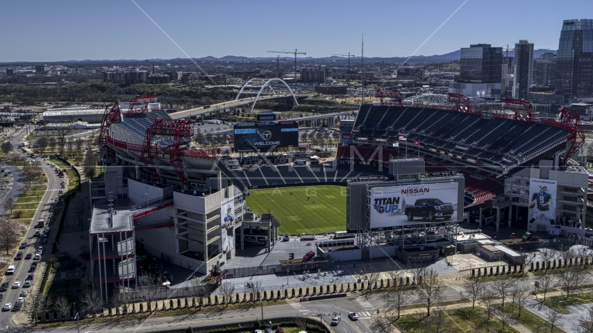 The football stadium with view of the field in Nashville, Tennessee Aerial Stock Photos | DXP002_112_0004