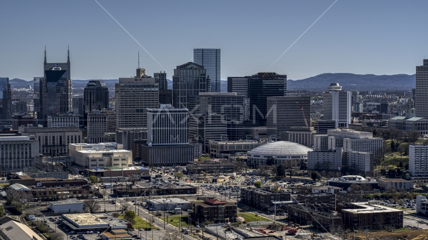 The city's skyline in Downtown Nashville, Tennessee Aerial Stock Photos | DXP002_112_0009