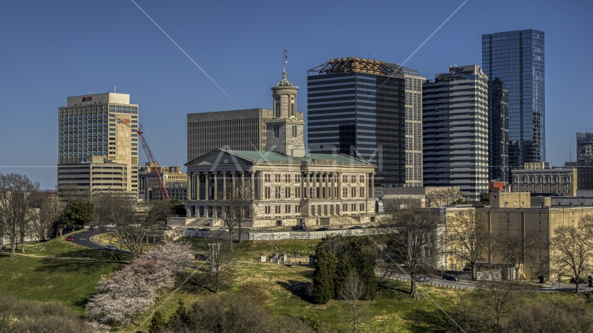 The Tennessee State Capitol building in Downtown Nashville, Tennessee Aerial Stock Photos DXP002_113_0006 | Axiom Images