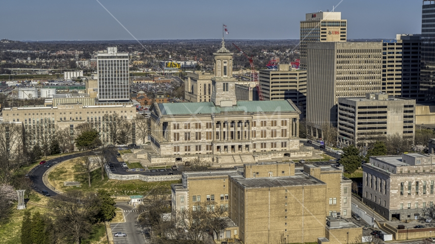 A view of the side of the Tennessee State Capitol building in Downtown Nashville, Tennessee Aerial Stock Photos | DXP002_113_0007