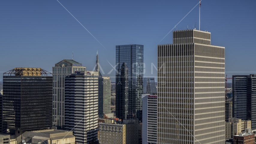 The towering 505 skyscraper and Tennessee Tower in Downtown Nashville, Tennessee Aerial Stock Photos | DXP002_113_0008