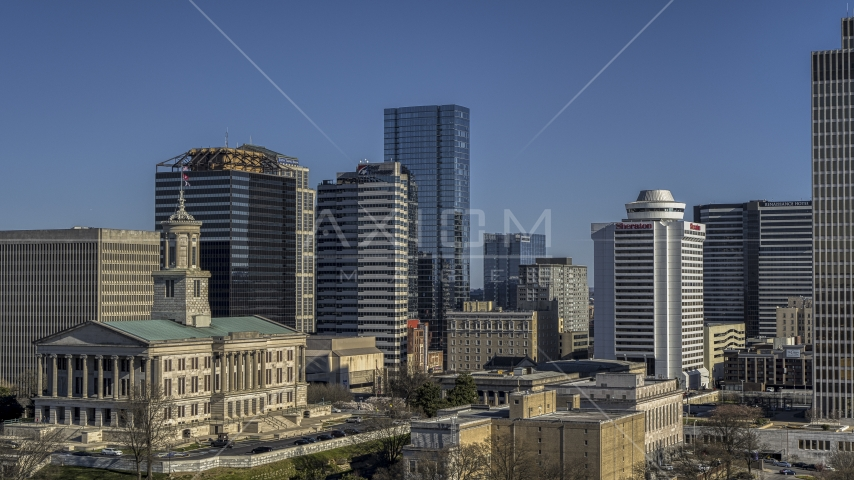 The towering 505 skyscraper seen from state capitol building in Downtown Nashville, Tennessee Aerial Stock Photo DXP002_113_0009 | Axiom Images