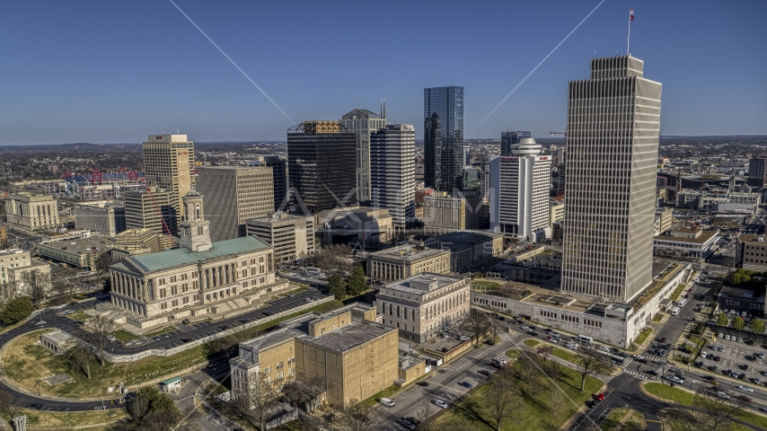 The Tennessee State Capitol near skyscrapers and Tennessee Tower in Downtown Nashville, Tennessee Aerial Stock Photos | DXP002_114_0003