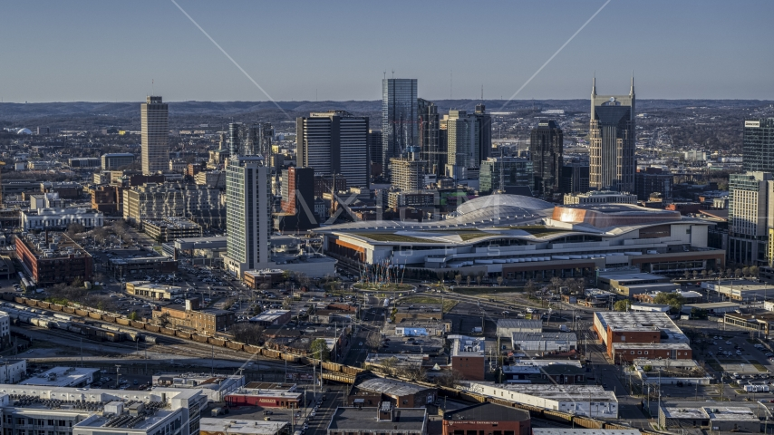 The convention center and skyline in Downtown Nashville, Tennessee Aerial Stock Photos | DXP002_114_0006