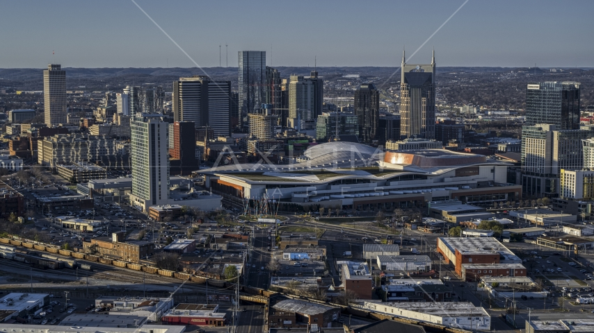 The city skyline and the convention center in Downtown Nashville, Tennessee Aerial Stock Photos | DXP002_114_0007