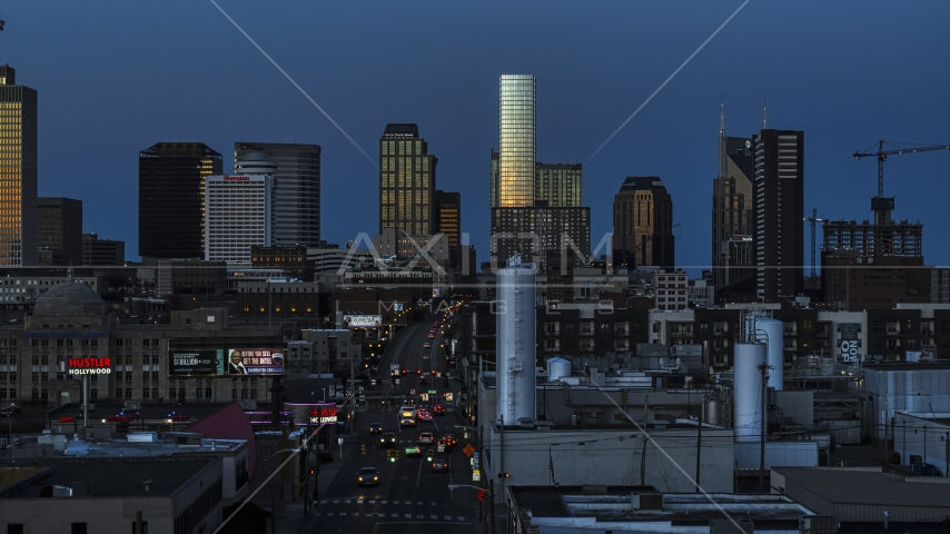 Church Street and view of city's skyline at twilight in Downtown Nashville, Tennessee Aerial Stock Photos | DXP002_115_0003