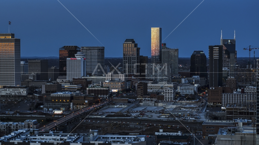 The city's skyline at twilight in Downtown Nashville, Tennessee Aerial Stock Photos | DXP002_115_0004