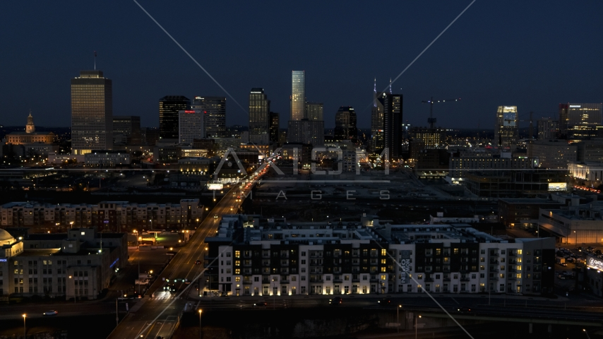 The city skyline at twilight, Downtown Nashville, Tennessee Aerial Stock Photos | DXP002_115_0013