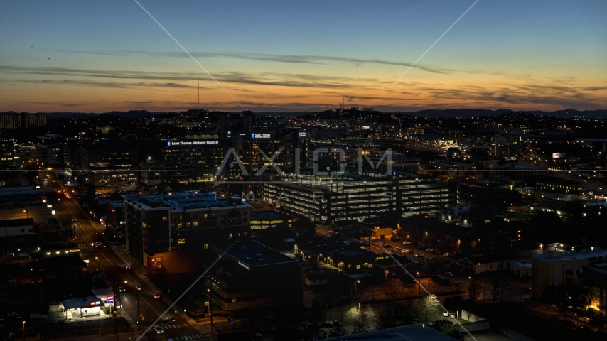 A hospital complex at twilight, Nashville, Tennessee Aerial Stock Photos | DXP002_115_0015