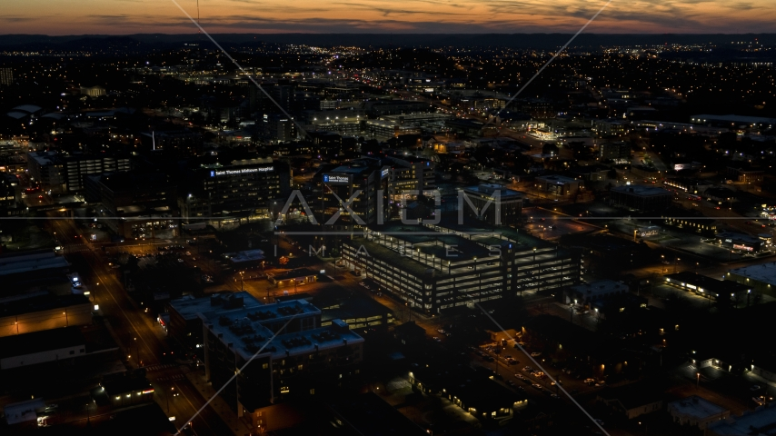 A view of a hospital complex at twilight, Nashville, Tennessee Aerial Stock Photos | DXP002_115_0016