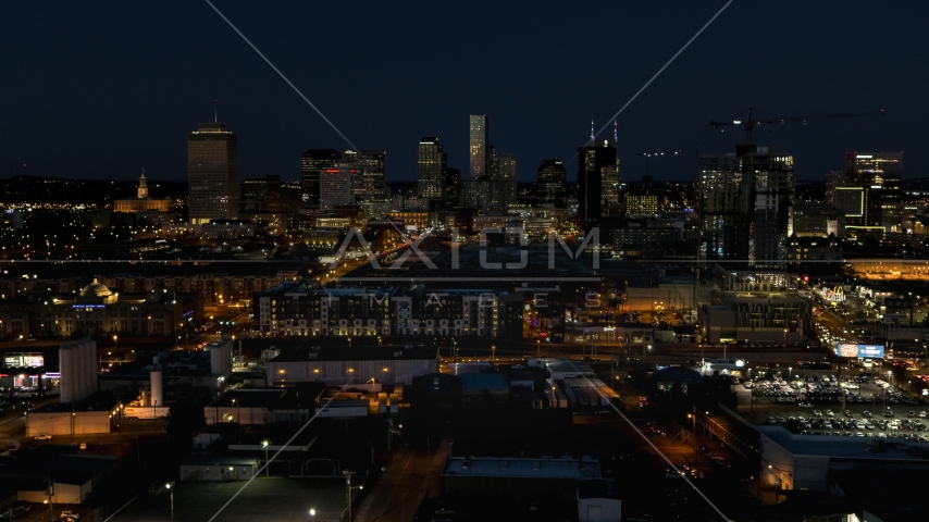 A view of the city skyline at night, Downtown Nashville, Tennessee Aerial Stock Photos | DXP002_115_0018