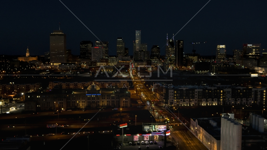 The city skyline at night seen from Church Street, Downtown Nashville, Tennessee Aerial Stock Photos | DXP002_115_0019